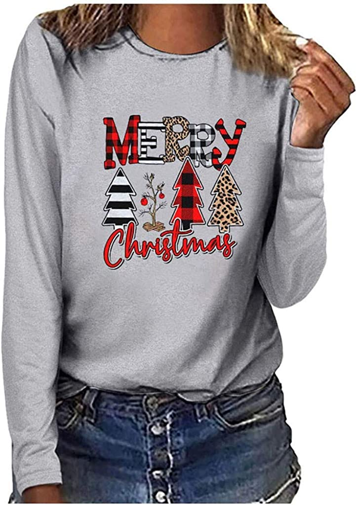 Today's only Fashion Kethorina Merry Christmas Tshirt Women Graphi Tree Plaid Leopard