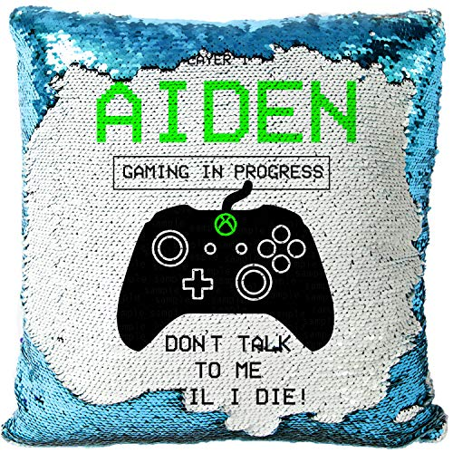 KRAFTYGIFTS Personalised GAMER Magic Reveal Sequin Cushion Cover Case Boys (XBOX MC017)