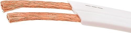 DCSk 10m – 2 x 1,5 mm² Cable de Altavoces Plano y Blanco I Cable de Cobre OFC Flexible para HiFi/Audio I Cable de Caj...