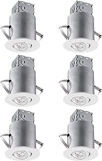 TORCHSTAR Recessed Lighting Kit: 3 Inch ETL-Listed Air Tight IC Housing + White Swivel Trim + LED Dimmable GU10 Bulb Soft White, Rotatable Spotlight, Retrofit Downlight Kit, Pack of 6