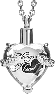 Smartchoice Cremation Jewelry For Ashes Urn Necklace Heart Pendant With Beautiful Presentation Gift Box With Stainless Chain And Accessories,