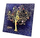 SOSPIRI VENEZIA Reloj de mesa cuadrado de cristal de Murano con árbol de la vida, 19 x 19 cm, técnica de vitrofusión, decoración murrina y hoja dorada, hecho a mano por artesanos venecianos (azul)