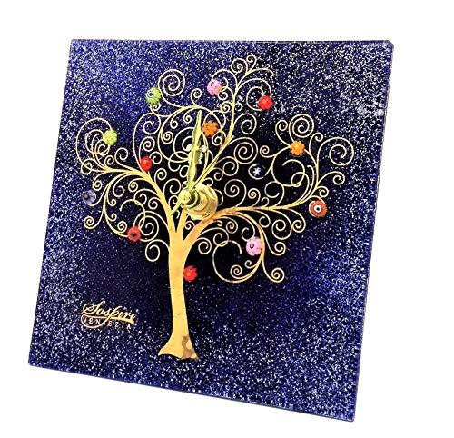 SOSPIRI VENEZIA - Reloj de mesa cuadrado de cristal de Murano, árbol de la vida, 9 x 9 cm, técnica vitrofusión, decoración murrina y hoja dorada, hecho a mano por artesanos venecianos