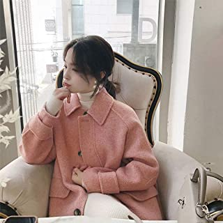 Winter Clothing for Women Coat Double-Sided Wool Coats Autumn and Winter Warm Jacket Thicken Retro Loose Over Knee Ladies Coat (Color : Pink, Size : XS)