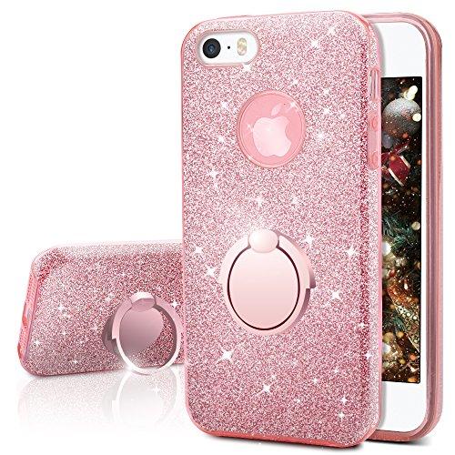 Miss Arts Cover iPhone SE, Cover iPhone 5S / 5, Custodia Glitter di in Morbido TPU con Interno in Policarbonato Ultra Resistente, Supporto Rotazione a 360 Gradi per Apple iPhone SE 5S 5 -Oro Rosa