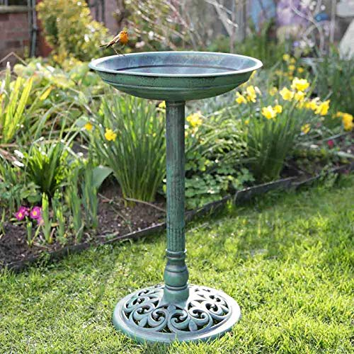 garden mile Traditional Bird Bath Garden Outdoor Bird Low Maintenance Resin Bath Bowl for Wild Birds Free Standing Weatherproof Garden Water Feature