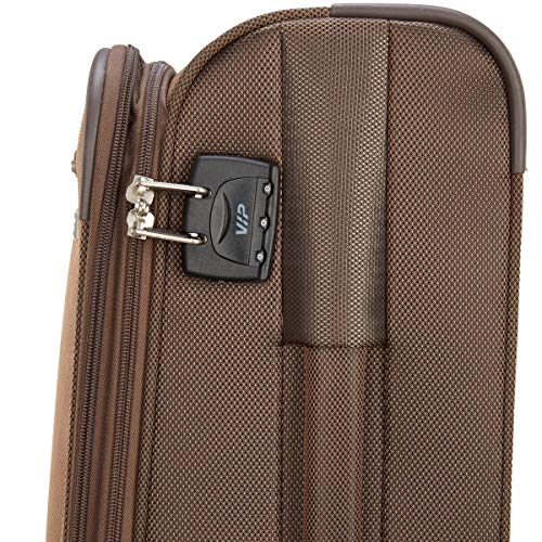 VIP Tide Polyester 56 Cms Brown Softsided Cabin Luggage with Corner Guards & Expander