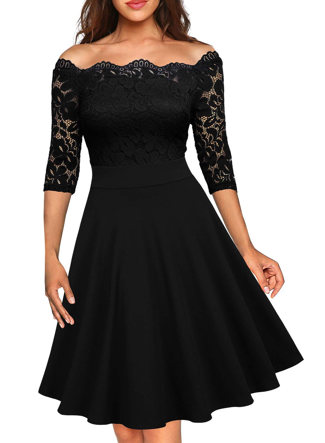 Party Dresses - Women's Vintage Floral Lace Half Sleeve Boat Neck Formal Swing Dress