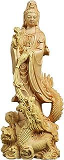 龍乗観音 観音像 龍観音 龍上観音 仏像 木彫り 置物 仏壇仏像 祈る 厄除け 柘植の木 (高さ17cm×巾6.5cm×奥行6cm) 【繁樓藝雕·TheChanger】