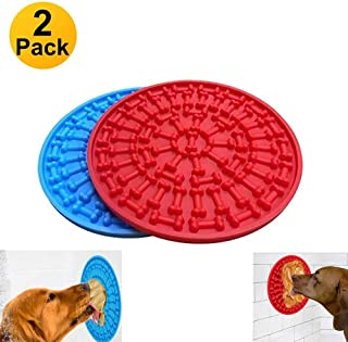 Maibtkey 2pcs Dog Lick Pad, Bath & Grooming Slow Feeders, Dog Washing Distraction Device, Powerful Suction Cups on The Back- Just Add Peanut Butter to Make Bath Time Easy