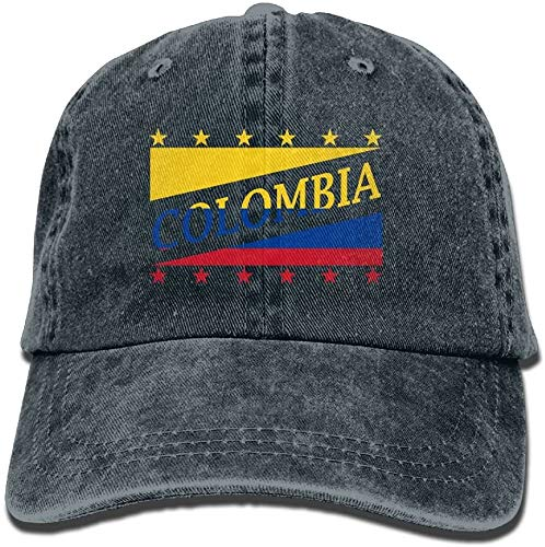 'N/A' Unisex adulto bandera de Colombia fútbol Copa del Mundo lavado denim algodón deporte al aire libre gorra de béisbol ajustable talla única azul marino