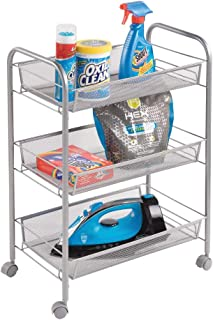 mDesign Portable Rolling Laundry Utility Cart Organizer Trolley with Easy-Glide Wheels and 3 Multipurpose Heavy-Duty Metal Mesh Basket Shelves - Wide Shelf - Durable Steel Frame - Silver
