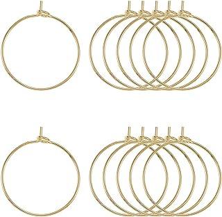 LiQunSweet 200 Pcs 316 Stainless Steel Hypo-allergenic Golden Plated Hoop Earring Wire Earwire Findings Wine Glass Charm B...