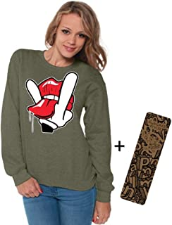 Awkwardstyles Women's Cartoon Hands Licks Crewneck Licking Sweatshirt + Bookmark