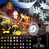 Christmas Projector Lights Outdoor, B-right Halloween Projector Lights with 10 HD Multi-festival Patterns IP65 waterproof 3 in 1 LED Christmas Outdoor Projector Lights for Holiday House Birthday Party