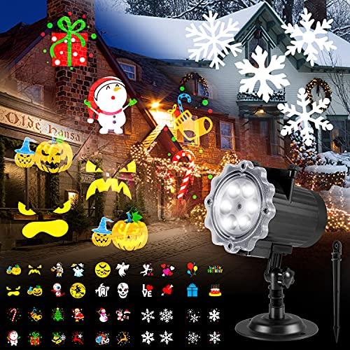 Proyector de luces de Navidad al aire libre, B-right para Halloween con 10 patrones HD multifestival IP65 impermeable 3 en 1 LED de...
