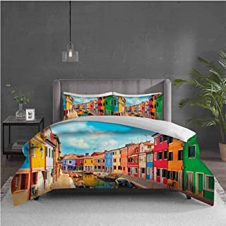 Edwiin Charles Venice Extra Large Quilt Cover Colorful Buildings and Water Canal with Boats Burano Island in The Venetian Lagoon Can be Used as a Quilt Cover-Lightweight (King) Multicolor