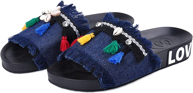 Btrada Women's Denim Sandals-Summer Non-Slip Open Toe Flats-Shell & color Tassel Slides shoes