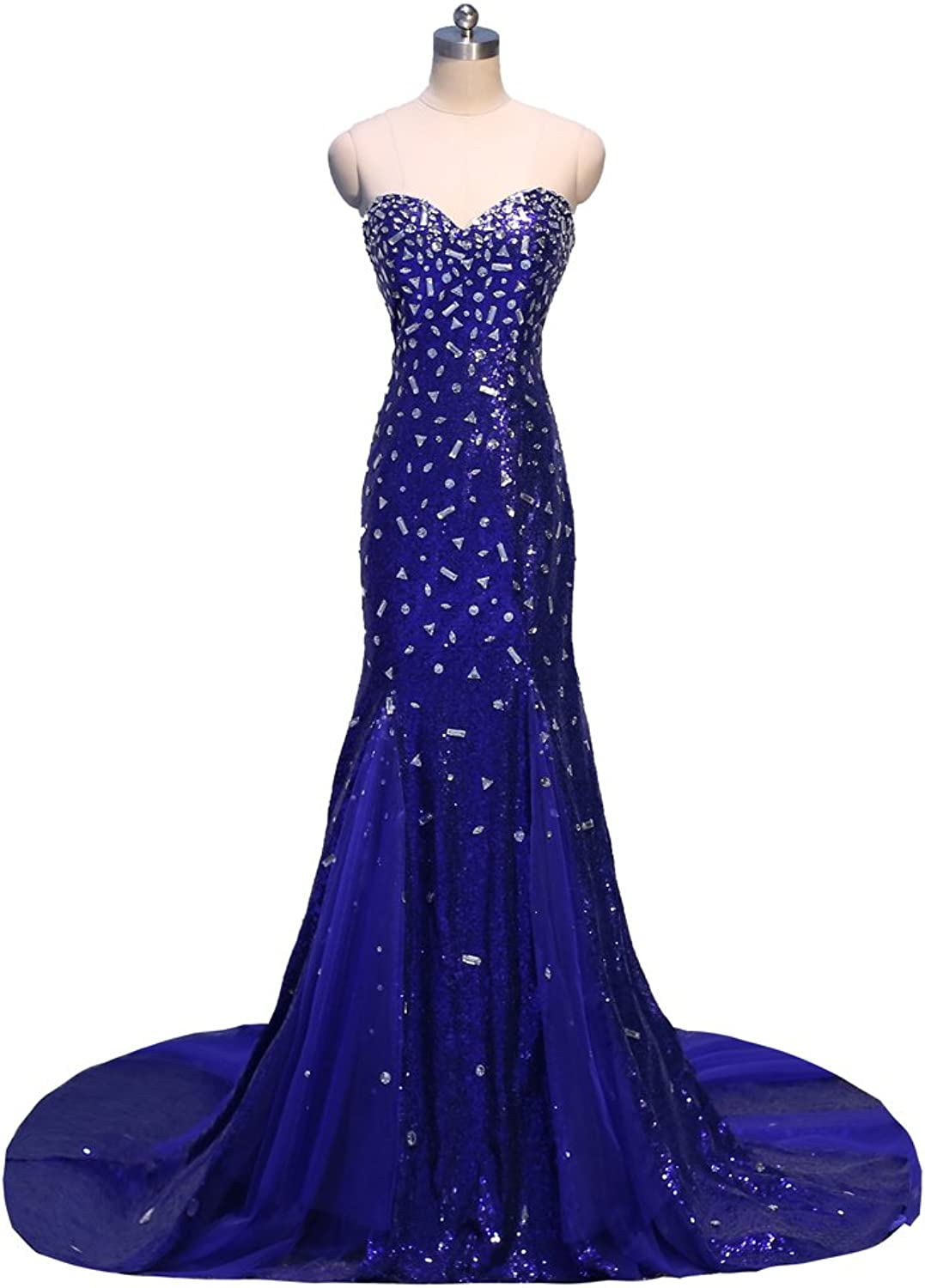 Vimans Women's Long Royal Sweetheart Rhinestone Mermaid Evening Party Gowns