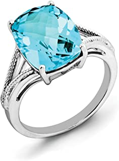 Sterling Silver Light Swiss Blue Topaz Ring - Ring Size Options Range: J to T