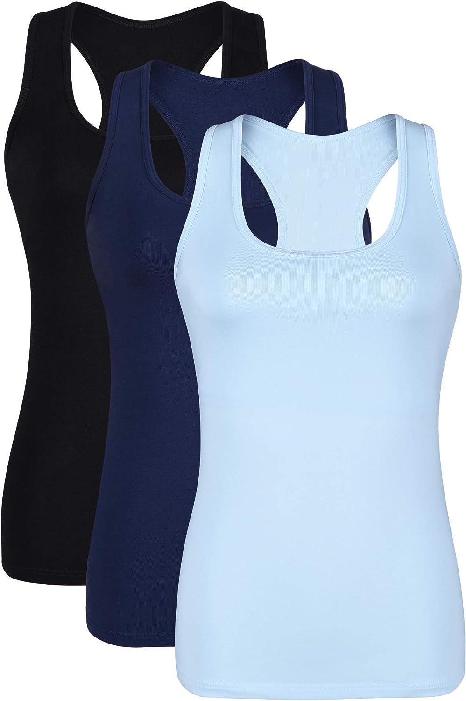 Wsdeya Racerback Workout Tank Tops for Women Yoga Tanks with Built in Bra Athletic Activewear