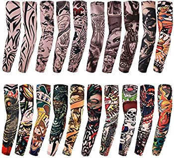 20PCS Set Arts Fake Temporary Tattoo Arm Sunscreen Sleeves - AKStore - Designs Tiger Crown Heart Skull Tribal and Etc