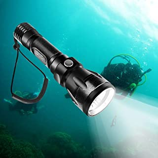 TURN RAISE Scuba Diving Light, Diving Flashlight - 1200 Lumen XM-L2 100M Waterproof Underwater Torch, Bright LED Submarine Safety Light for Underwater Activities and Outdoor Activities