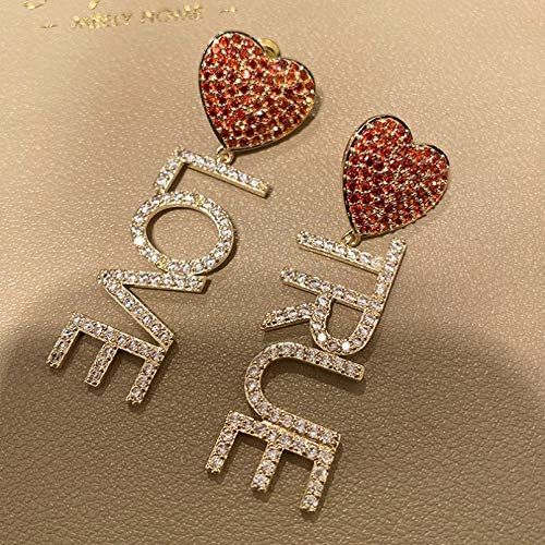 BAJIE Earring Fashion Red Heart And True Love Cz Letter Drop Earring For Women