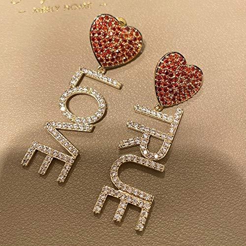 BAJIE Pendiente Moda Corazón Rojo y Verdadero Amor Cz Letra Pendiente de Gota para Mujer