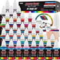 US Art Supply 6 Color Starter Acrylic Airbrush Paint Set Primary Opaque Colors plus Reducer & Cleaner, 1 oz. Bottles
