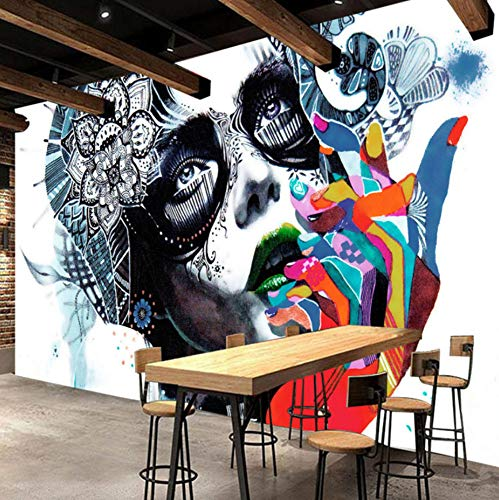 Peinture murale de mur de barre créative de peinture de photo de beauté de graffiti de couleur de rue de couleur créative de papier peint de mur, 300 × 210Cm