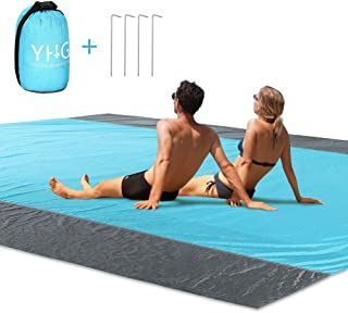 Beach Blanket Sand Proof Oversized Waterproof Windproof Beach Mat with Stakes, Huge Ground Cover 9' x 7' for 5 Adults Lightweight Beach Blanket Picnic Mat for Travel, Hiking, Camping, Festival