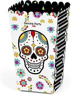 Big Dot of Happiness Personalized Day of the Dead - Custom Halloween Sugar Skull Party Favor Popcorn Treat Boxes - Set of 12