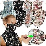 4 Pack Women Face Scarf Mask Reusable Face Cover Balaclava with Filter Pocket Chiffon Bandana Neck Gaiter
