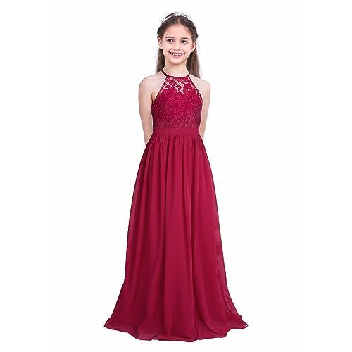 96476a3cc2e2 iiniim Girls Lace Dress Chiffon Gown Dress Floor Length Dress Wedding  Bridesmaid Flower Girl Long Dress