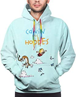 LUENSRO Calvin and Hobbes Hoodie Men's Boys Girls Pattern Pullover