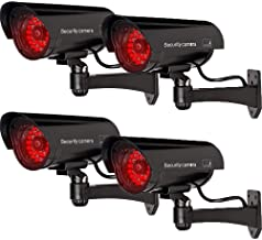 WALI Bullet Dummy Fake Surveillance Security CCTV Dome Camera Indoor Outdoor with 30 Illuminating LED Light and Warning Security Alert Sticker Decals (B30-4), 4 Packs, Black
