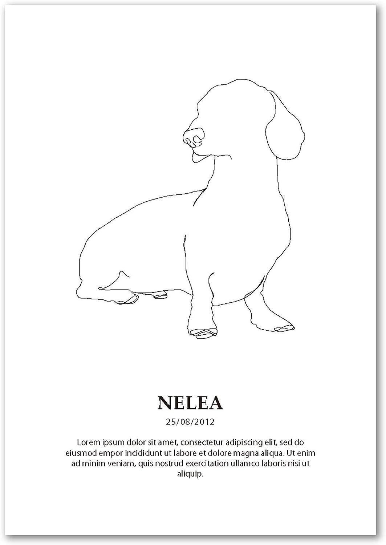 Panorama Póster Perro Teckel Personalizado 35x50cm - Impreso en Papel 250gr - Póster Mascotas - Láminas para Enmarcar - Regalo Personalizado Original - Cuadro Personalizado