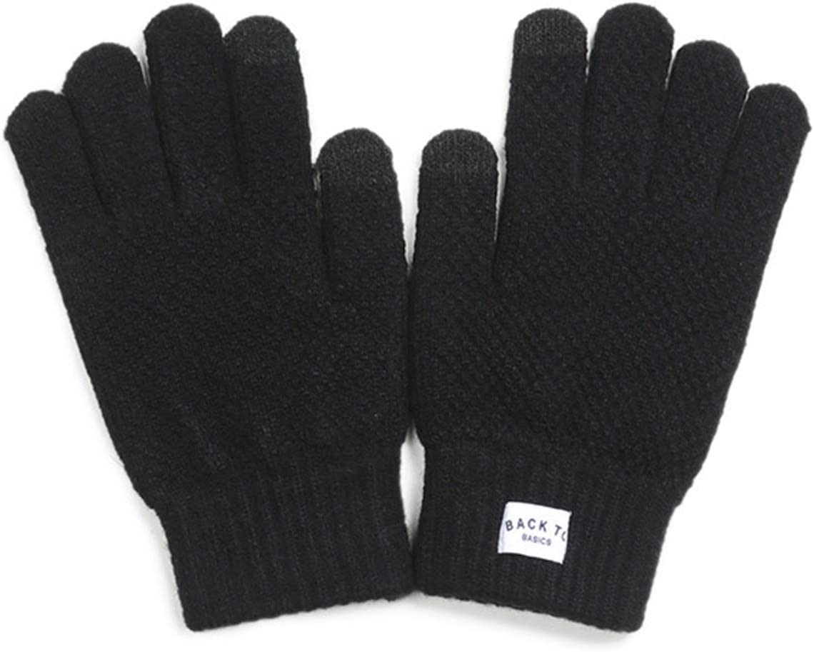 GUYANMAY Lace Gloves 2021 Winter Men's Gloves Warm New Thick Flexible Full Finger Adult Gloves Smartphone Tablet Korean Creative Cashmere Knitted (Color : Black, Gloves Size : One Size)
