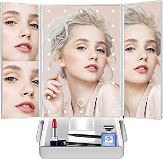 Makeup Mirror Vanity Mirror with Lights - 3 Color Lighting Modes 22 LED Trifold Mirror, Touch Control Design, 2x/3x Magnif...