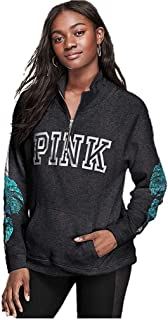 Pink Bling Campus Quarter Half Zip Tunic Sweater Gray Sequins Silver Green Small