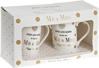 The Leonardo Collection Fine China Mad Dots Mr & Mrs Mugs with Diamante Detailing In a Gift Box (Set of 2), White