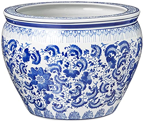 Hot Sale Oriental Furniture Classic Asian Indoor Planter Pot, 16-Inch Fine Chinese Export Porcelain Fishbowl, Ming Blue and White Floral Design