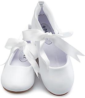 b59169a24 OLIVIA K Girls Adorable Ballerina Mary Jane Flats Ribbon Tie Shoes