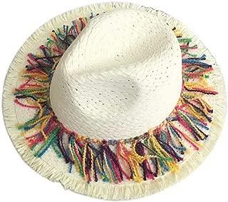 Straw Hat Beach Hat Round Cap Summer Shade Sunscreen Tassel Cap Women,White