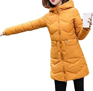Women Casual Loose Zipper Quilted with Pocket Hoodies Long Sleeve Down Jacket Overcoats Outwear