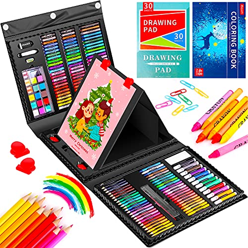 Art Set, iBayam 222 Pack Art Supplies Drawing Kit for Kids Girls Boys Teens Artist Children 5 6 7 8 9 11 12, Beginners Art Case with Trifold Easel, Sketch Pad, Coloring Book, Pastels, Crayons, Pencils