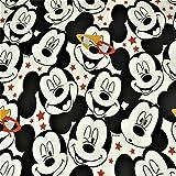 Jersey Disney Micky Maus, Sterne, weiss (50cm x 150cm)