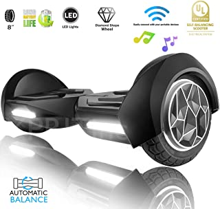 XPRIT 8 inch WheelsHoverboard Electric Auto Self Balancing Scooter with Wireless Music Speakers and LED Lights UL2272 Certified Electric Scooter for Kids and Adult