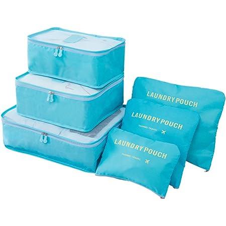 Organisateurs de Voyage Imperméables, EASEHOME 6 Pcs Organisateur Valise Sacs de Rangement Nylon Organiseurs de Bagage pour des Vêtements Cosmétiques Chaussures 3 Cubes + 3 Pochettes, Bleu Clair